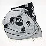 Magaschoni Black and White Skulls Knit Throw Blanket with Fringe