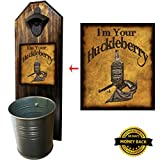 I'm Your Huckleberry Bottle Opener and Cap Catcher - Handcrafted by a Vet - Made of Solid Pine - Rustic Cast Iron Bottle Opener and Sturdy Mini Galvanized Bucket - Great Dad Gift!