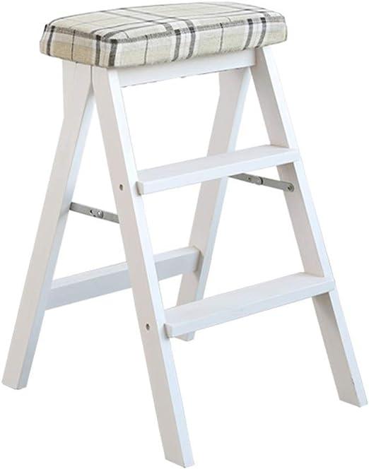 QQXX Taburete con peldaño Escalera de Dos escalones Biblioteca de Patines Plegables de Madera Banco de Cocina de 3 peldaños Alfombra Lavable de 150 kg de Capacidad (Tira de Patas Blancas): Amazon.es: