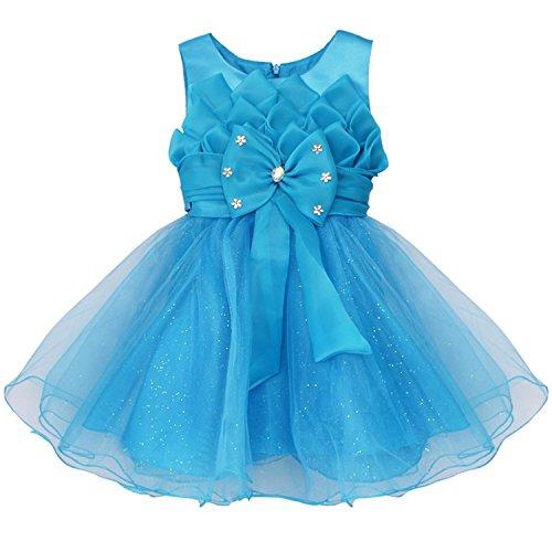Ygosoon Girls Children Kids Lotus Flower Princess Wedding Party Dress Wear Gowns Bow First Tulle Flower Girl Dress Blue (Princess Leia Wedding Dress)