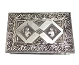 Zap Impex Elegance Silver Antique Silver Jewelry Box with Jeweled Lock