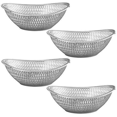 Impressive Creations Reusable Decorative Serving Basket - Plastic Fruit Basket - Bread Basket with Elegant Silver Finish - Functional and Modern Weaved Design - 4pk