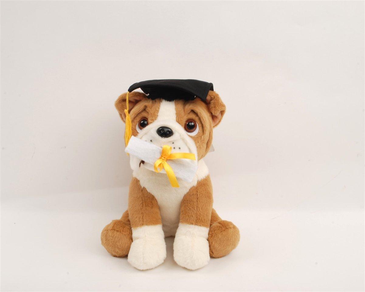 "Linzy Toys 10"" Graduation Bulldog Animal Plush"