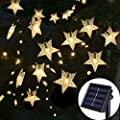 SEMILITS Solar Outdoor String Lights - Waterproof 30ft 50 LED Star Shaped Twinkle Fairy Ambiance Lights