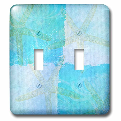 3dRose  lsp_79348_2 Aqua And Blue Starfish Collage Beach Theme Art Double Toggle Switch Blue Double Light Switchplate