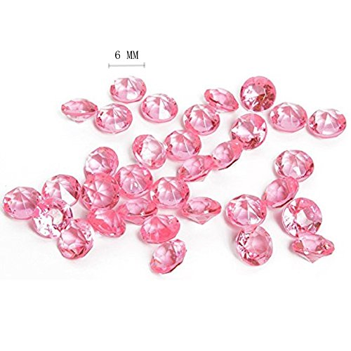 KUPOO 2000 Clear Acrylic Diamond Confetti 6mm for Wedding Decoration Table Scatters (Pink)]()
