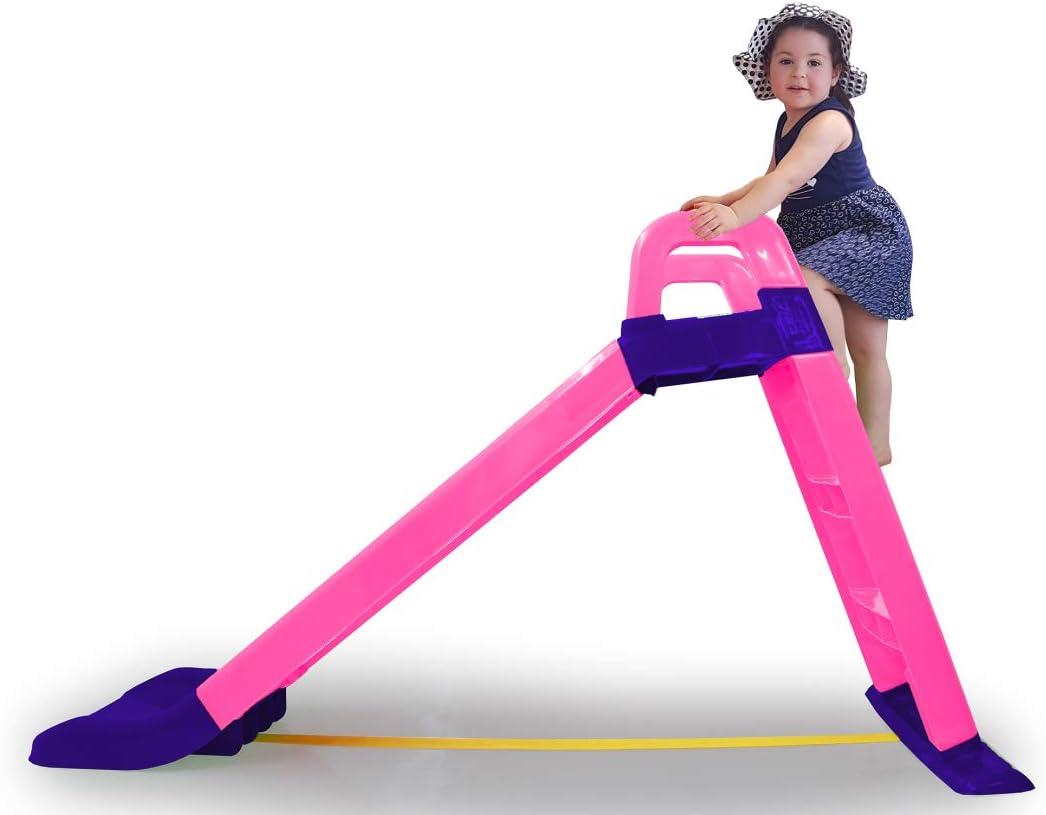Jamara- Tobogán Funny Slide Rosa – de plástico Resistente, caño Antideslizante para aterrizajes Suaves, peldaños Anchos y Asas de Seguridad, Cuerda de estabilización, Color (460503)