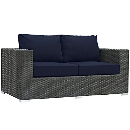 Modway EEI-1851-CHC-NAV Sojourn Wicker Rattan Outdoor Patio Coffee Table, Loveseat, Canvas Navy