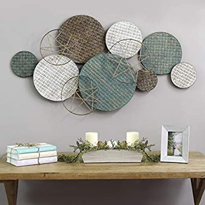 Stratton Home Decor Woven Texture Metal Plates with Jute Accents