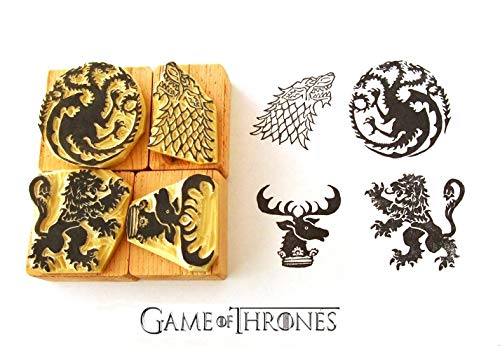 Game of Thrones inspired Hand carved rubber stamp set 2. House Targaryen. House Stark. House Lannister. House Baratheon Sigils by StampDealer