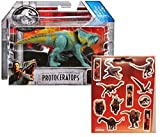 Jurassic World Protoceratops Attack Pack Figure + One Sheet of 12 Dinosaur Stickers Bundle (2 Items)