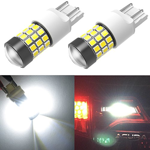 Alla Lighting Super Bright 39-SMD T20 7443 7440 W21W LED Bulb High Power 2835 Chipsets 6000K Xenon White LED Back-up Reverse Light Bulbs Lamps Replacement W/Projector Lens