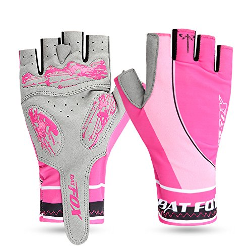 Road Cycling Gloves,Basecamp Breathable Fingerless Gel Pad Men Women Bike Gloves Mountain Gloves for Cycling Climbing Camping Half Finger Bicycle Gloves (Pink, XL(3.74-3.94 /9.5-10CM))