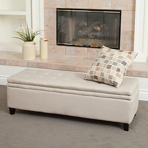 Christopher Knight Home 258245 Living Sandford Fabric Upholstered Storage Ottoman Bench with Tufted Top, Sand