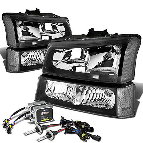 For Chevy Silverado/Avalanche 1st Gen 4-PC Headlight+Bumper Light+12,000K 9006 HID+Thick Ballasts (Black Housing) ()