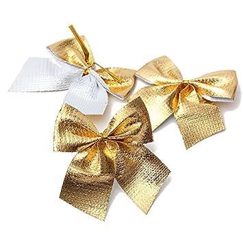 Weihnachtsdeko Gold.Yalulu 60 Stück Golden Rot Silber Zierschleifen