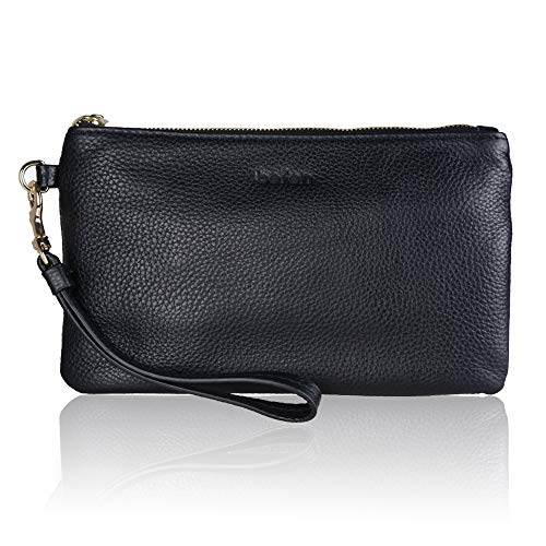 Befen Women Genuine Leather Clutch Wallet, Smartphone Wristlet Purse - Black ()
