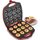 VonShef 12 Mini Donut Electric Maker Kit Set, Small Donut Snack Machine, Red