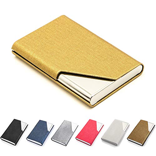 - Business Card Holder Luxury PU Leather & Stainless Steel Business Card Case Wallet Credit Card ID Case/Holder for Men & Women,Yellow