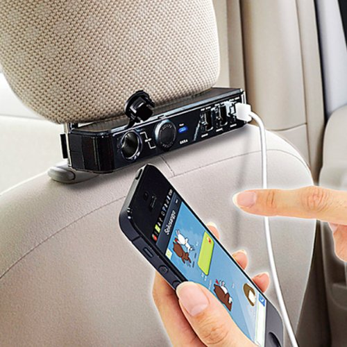Price comparison product image Victor VM-02T Car Dash Seat Headrest Triple USB Port Smartphone Charger 2Way Socket for iPHOE iPAD Smartphone