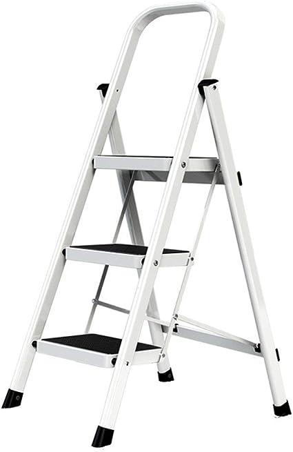 Multifunción, 3 peldaños antideslizantes hierro, 4 etapas unilaterales, escaleras multicolor, escalera, taburete (rojo, blanco) Peso: 5,1 kg, 6,1 kg estable, color blanco 41*66*104CM: Amazon.es: Oficina y papelería
