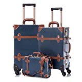 COTRUNKAGE 3 Piece Vintage Luggage Set TSA Lock Retro Trunk (12″ 20″ 26″, Navy Blue) Review