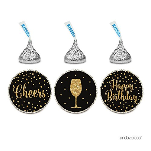 Andaz Press Birthday Chocolate Drop Labels Trio, Fits Hershey's Kisses Party Favors, Wine Glass, Cheers! Happy Birthday, 216-Pack (Trio Wine)