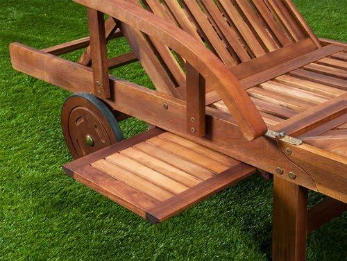 Deuba 2 x Tumbonas de Madera de Acacia Tami Sun con mesa plegable reposapies ajustable para jard/ín interior y exterior