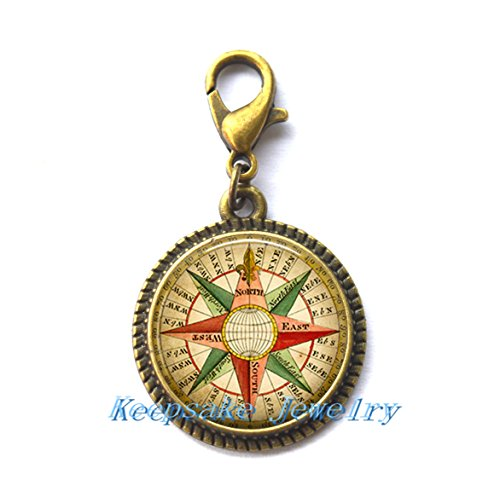 (Antique Wind Rose Zipper Pull, steampunk Zipper Pull charm compass jewelry compass Zipper Pull compass Zipper Pull, sailor's Zipper)