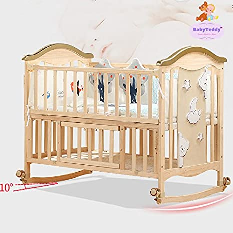 4599adc8b Buy BabyTeddy 9 in 1 Convertible Forest Theme Baby Crib Wooden Cot Bed  Swing Desk with 6 Piece Bedding Set and Mosquito Net Online at Low Prices  in India ...