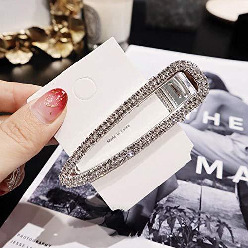 Graceful Double Rows - Alician Korean Style Women Diamond Pearl Fashion Hairpin Bangs Clip Hair Ornaments Silver Double row hollow