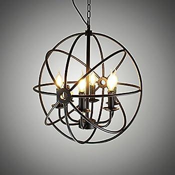 NATSEN 6-lights Vintage Edison Metal Shade Round Hanging Ceiling ...