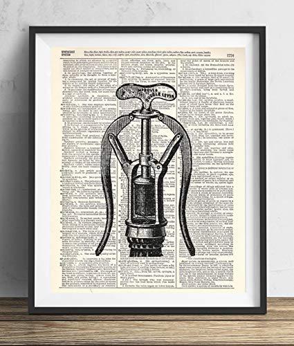 (Vintage Corkscrew Illustration Upcycled Dictionary Art Print 8x10)