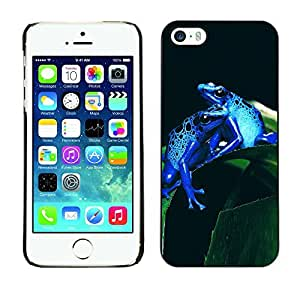 YOYO Slim PC / Aluminium Case Cover Armor Shell Portection //Cool Neon Blue Jungle Frogs //Apple Iphone 5 / 5S