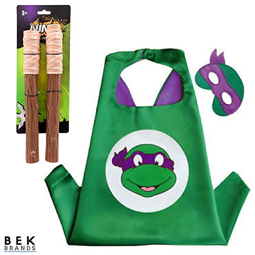 Bek Brands Children's Superhero Costume Cape Mask Sets (TMNT - Donatello w/Bo Staff) ()