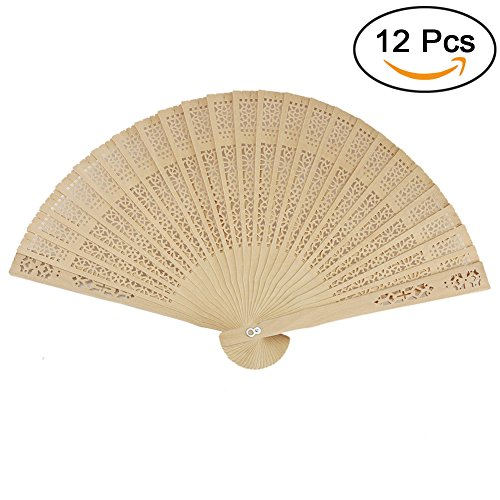 Orgrimmar Chinese Sandalwood Scented Wooden Hand Held Folding Fans for Wedding Decoration,Birthday ,Home Gift (12 Pack) (12 - Scented Fan Sandalwood
