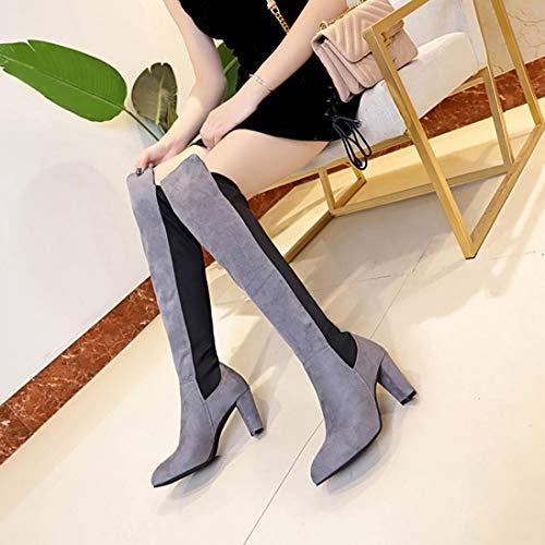 Femme Boots Cuissardes Sanfashion Haut Cavalieres Gris Chaussures Hauts Cuir Synthétique Hautes Talons Bottes Mat Au Stretch Genou À Martin YqrxYEtw