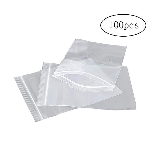 Wilk 100pcs-PE Postal Transparente Bloquear Bolsa de plástico Ziplock joyería Zip Zip Lock Puede Volver a Cerrar plástico Poli Claro Bolsas Bolsa de ...