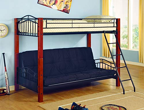 (Collins Twin over Futon Bunk Bed Black and Cinnamon)