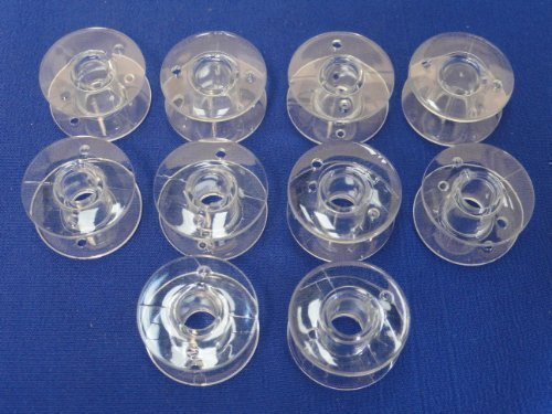 10 PLASTIC BOBBINS, WILL FIT BROTHER QC, VX, XL SERIES, MORE & BABYLOCK MACHINES