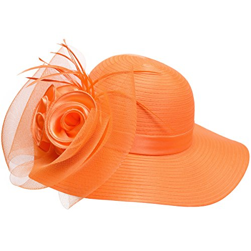 Lawliet Women Satin Crin Kentucky Derby Wide Brim Sun Hat A433 (Orange) -