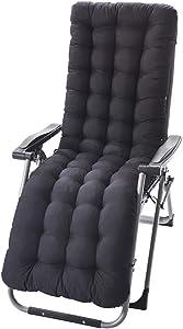 GWZSX Chair Cushion High Back Chaise Longue Cushion Patio Outdoor Chaise Lounger Cushion Armchair Cushion for Chaise Replacement Cushion-155x48x8cm Black