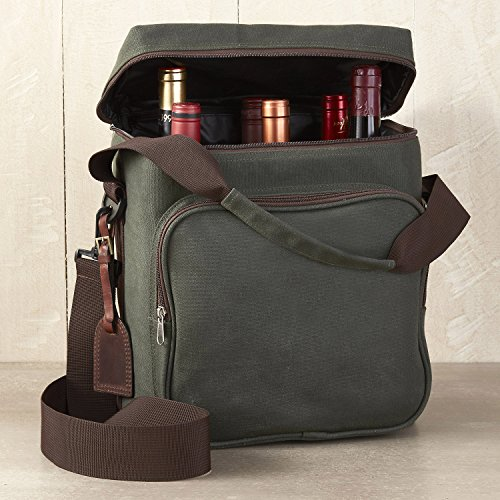 Wine Enthusiast 6-Bottle Wine Bag - Waxed Canvas Weekend Wine Carrier, Forest Green