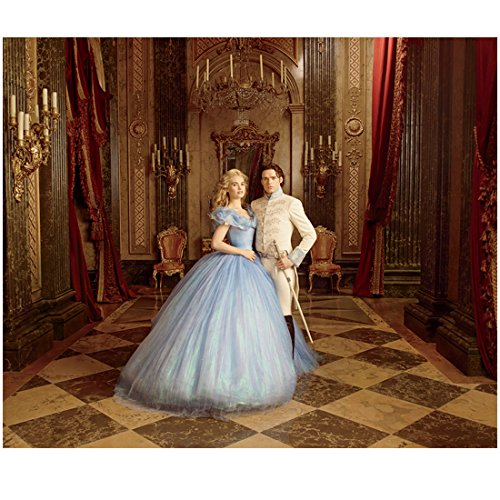 Photograph James - Cinderella Lily James on Swing with Richard Madden as The Prince Royal Portrait 8 x 10 Photo