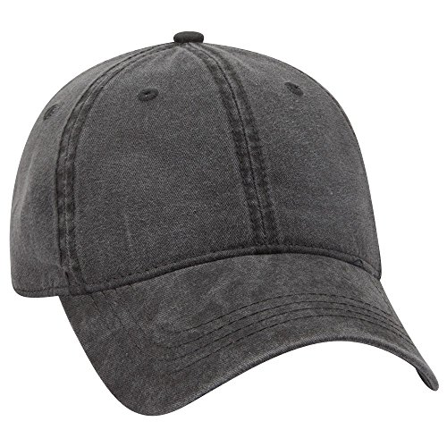 Otto 6 Panel Low Profile Garment Washed Pigment Dyed Baseball Cap - Black (Unstructured 6 Panel Garment)