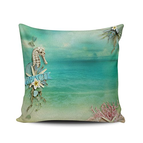XIUBA Throw Pillow Covers Case Green and Pink Tropical Breeze Beach Seahorse Starfish Ocean Decorative Pillowcase Cushion Cover 26 x 26 inch European Size One Side Design Printed