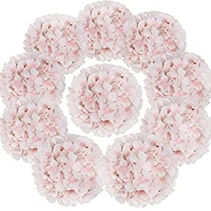 Flojery Silk Hydrangea Heads Artificial Flowers Heads with Stems for Home Wedding Decor,Pack of 10 (Baby Pink)