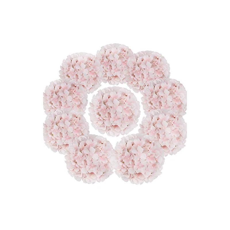 silk flower arrangements flojery silk hydrangea heads artificial flowers heads with stems for home wedding decor,pack of 10 (baby pink)