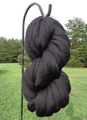 Black Noir Wool Top Roving Fiber Spinning, Felting Crafts USA (4lb) by Shep's Wool
