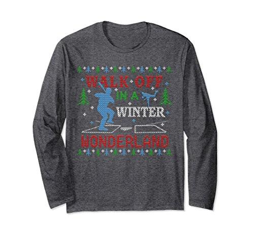 Unisex Baseball Walk Off Ugly Christmas Sweater Party T-shirt Large Dark Heather